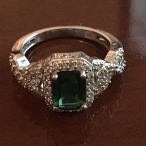 Jewelry - Simulated Emerald and CZ Ring Size 6